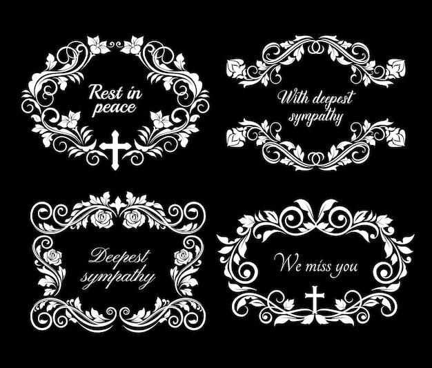 Cartão de condolências fúnebre e obituário com coroa de flores e mensagem rip Vetor Premium