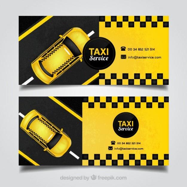 Cartão de condutor de táxi amarelo Vetor grátis