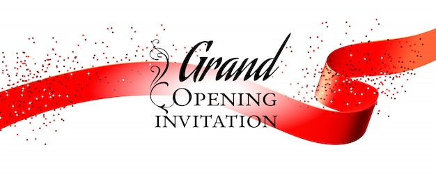 Cartão de convite branco de inauguração Vetor grátis