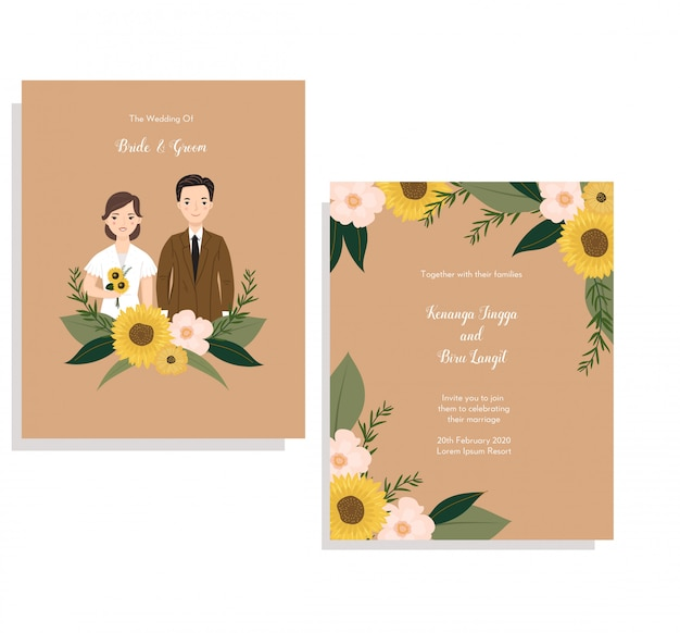 Cartão de convite com ilustração de casal fofo e coroa de flores de sol Vetor Premium