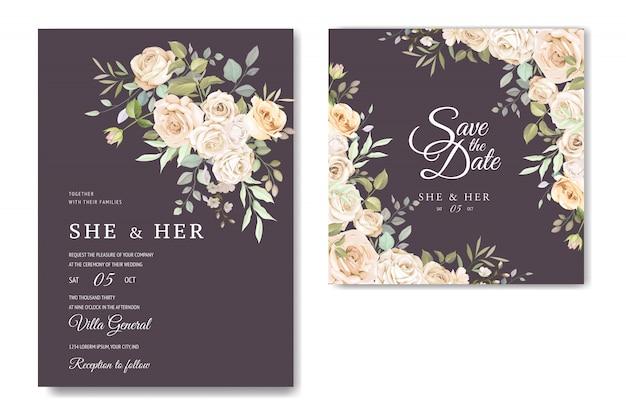 Cartão de convite com lindo modelo floral Vetor Premium