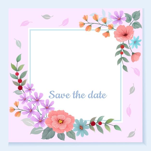 Cartão de convite com moldura de flores lindas Vetor Premium