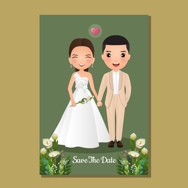 Cartão de convite de casamento a noiva e o noivo bonito casal personagem de desenho animado. Vetor Premium