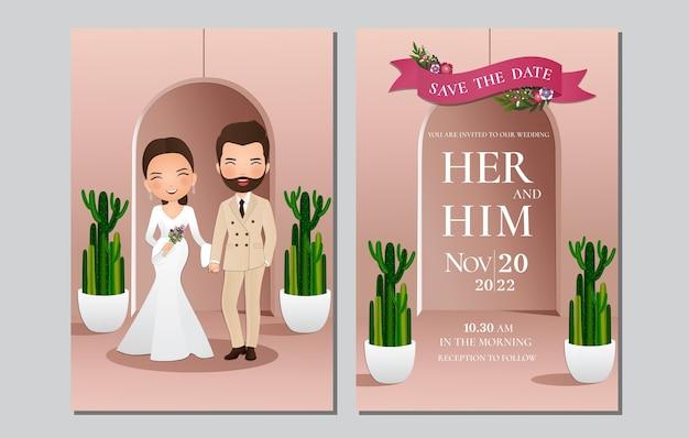 Cartão de convite de casamento, a noiva e o noivo casal fofo personagem de desenho animado Vetor Premium