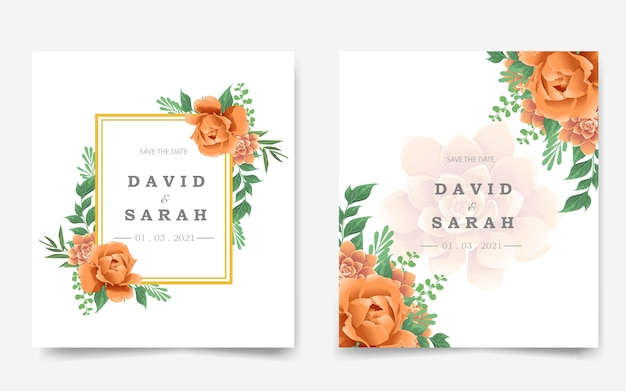 Cartão de convite de casamento bonito com flor de laranjeira Vetor Premium