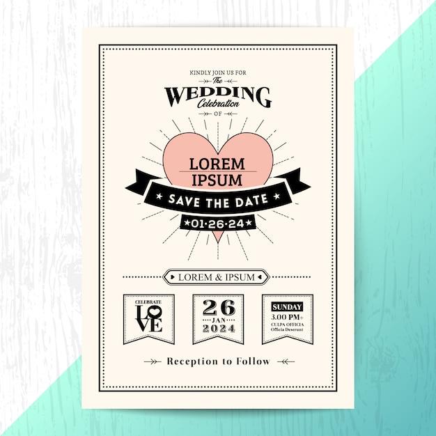 Cartão de convite de casamento clássico, salvar o cartão de data Vetor Premium