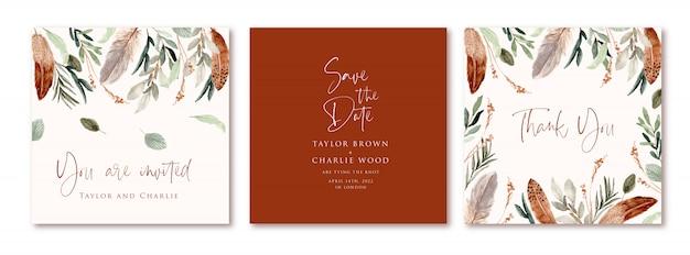 Cartão de convite de casamento com aquarela de folhas e penas no estilo boho Vetor Premium