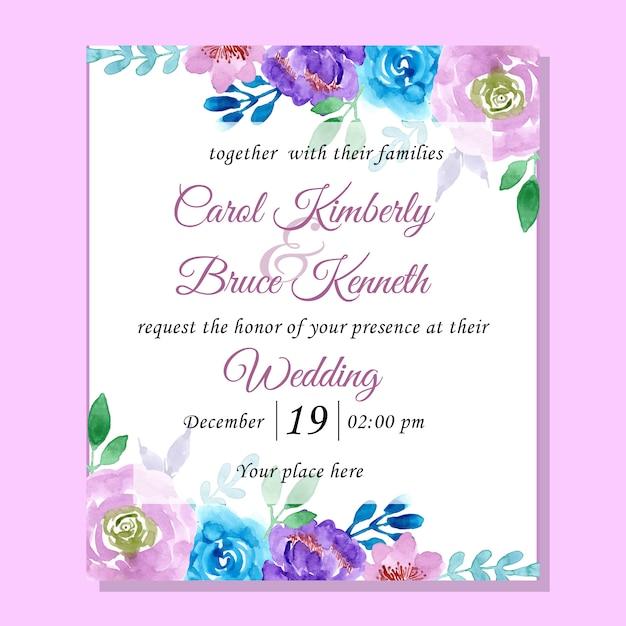 Cartão de convite de casamento com aquarela floral azul e roxo Vetor Premium
