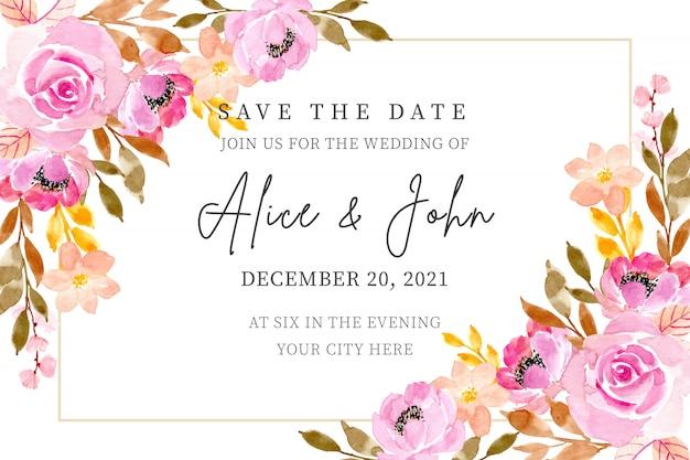 Cartão de convite de casamento com aquarela floral Vetor Premium