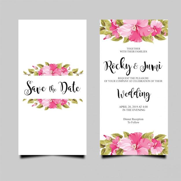 Cartão de convite de casamento com buganvílias Vetor Premium