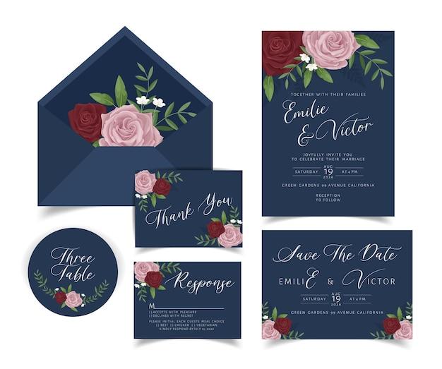 Cartão de convite de casamento com decoração floral e de folhas Vetor grátis