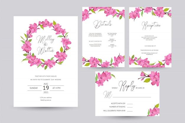 Cartão de convite de casamento com design de flor de cerejeira Vetor Premium
