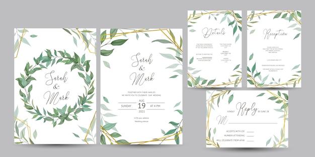 Cartão de convite de casamento com design de folhas Vetor Premium