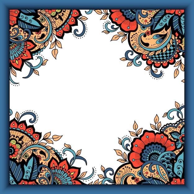 Cartão de convite de casamento com elementos florais abstratos em estilo indiano mehndi. Vetor grátis