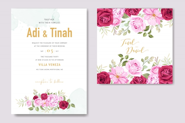 Cartão de convite de casamento com elementos florais Vetor Premium