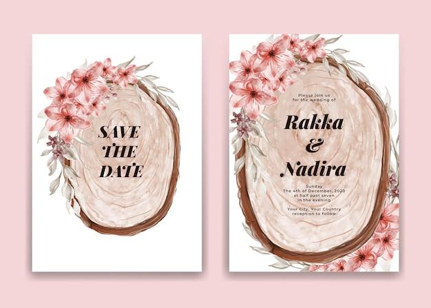 Cartão de convite de casamento com fatia de madeira e arranjo de flores rosa Vetor grátis