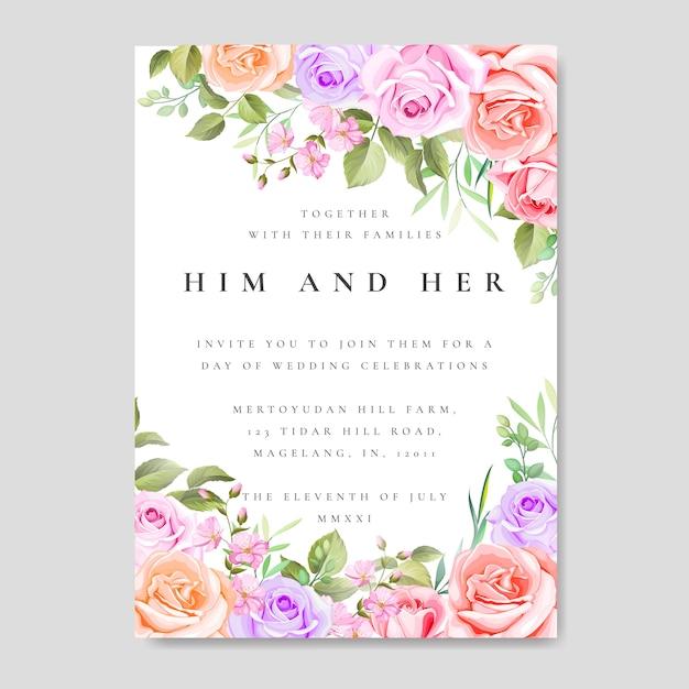 Cartão de convite de casamento com floral colorido e folhas Vetor Premium
