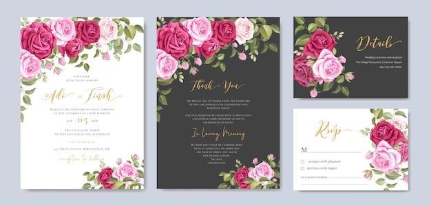 Cartão de convite de casamento com floral e deixa o modelo de quadro Vetor Premium