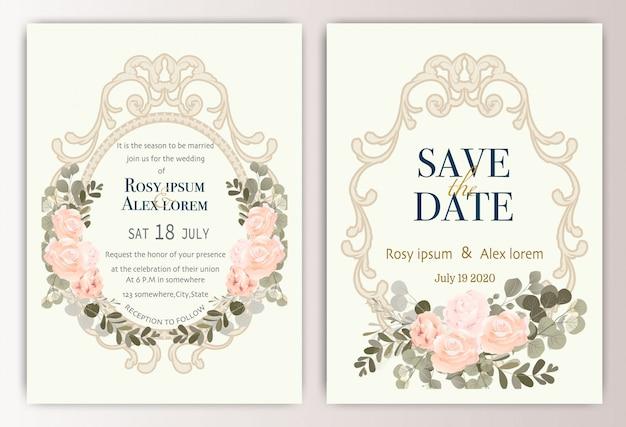 Cartão de convite de casamento com flores coloridas e folhas. Vetor Premium