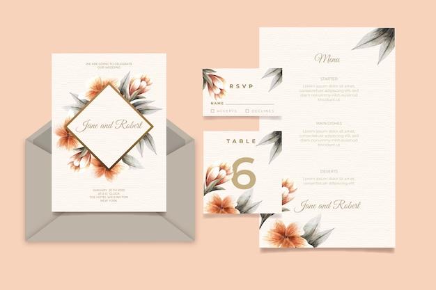 Cartão de convite de casamento com flores Vetor grátis