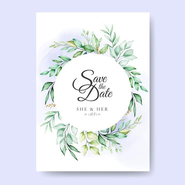 Cartão de convite de casamento com folhas em aquarela Vetor Premium