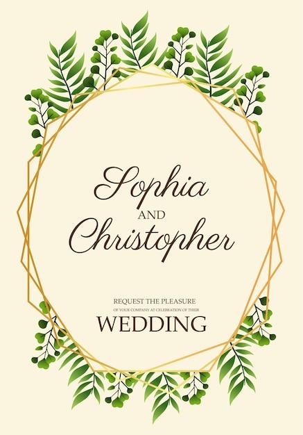 Cartão de convite de casamento com folhas em ilustração em moldura dourada Vetor Premium