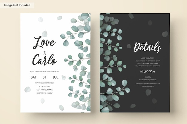 Cartão de convite de casamento com folhas verdes de eucalipto Vetor grátis
