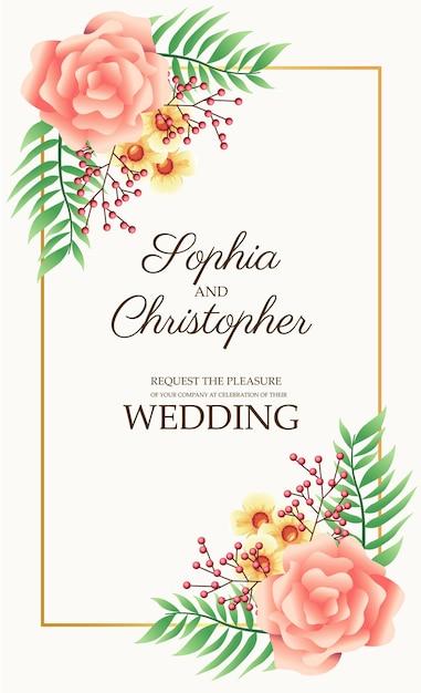 Cartão de convite de casamento com ilustração de flores rosa e moldura quadrada dourada Vetor Premium