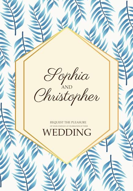 Cartão de convite de casamento com ilustração de padrão de folhas azuis Vetor Premium