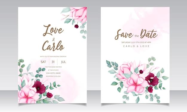 Cartão de convite de casamento com linda flor de magnólia Vetor grátis