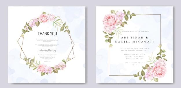 Cartão de convite de casamento com lindas flores e folhas Vetor Premium