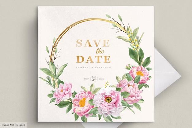 Cartão de convite de casamento com lindas flores Vetor grátis