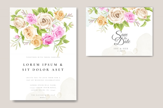 Cartão de convite de casamento com lindas rosas modelo Vetor Premium