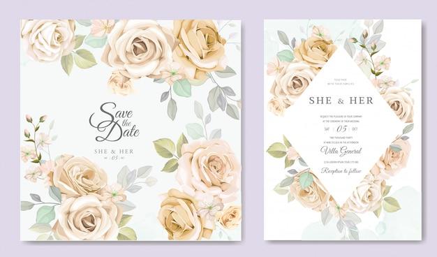 Cartão de convite de casamento com lindo modelo floral e folhas Vetor Premium