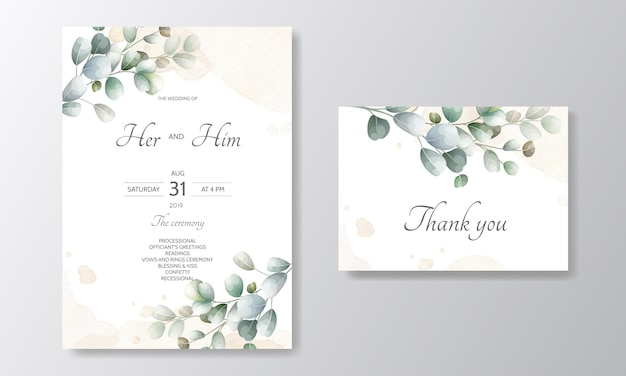 Cartão de convite de casamento com modelo de folhas de eucalipto Vetor Premium
