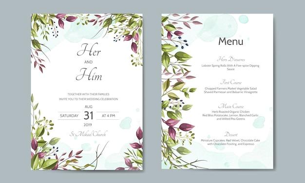 Cartão de convite de casamento com modelo de folhas verdes Vetor Premium