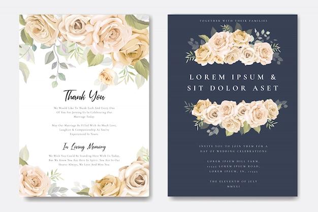 Cartão de convite de casamento com modelo floral Vetor Premium