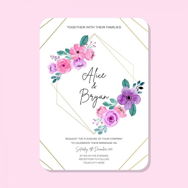 Cartão de convite de casamento com moldura vintage Vetor Premium