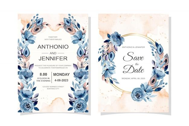 Cartão de convite de casamento com penas e floral com aquarela Vetor Premium
