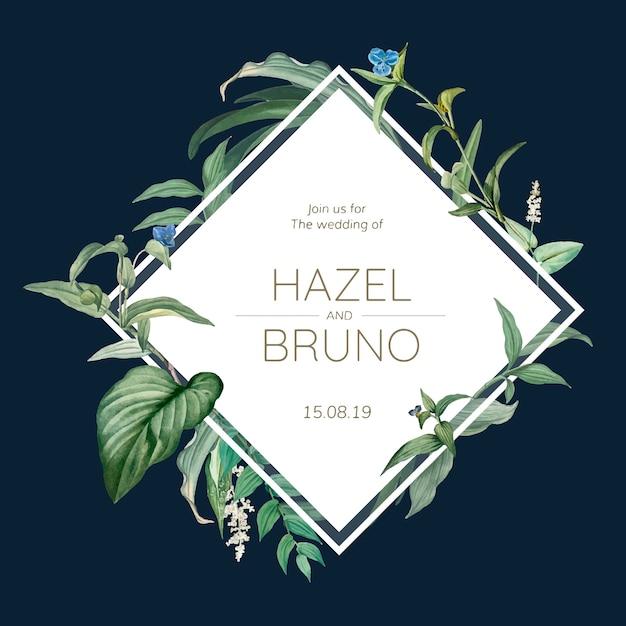 Cartão de convite de casamento com vetor de design de folhas verdes Vetor grátis