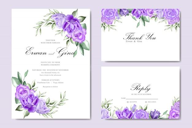 Cartão de convite de casamento conjunto com aquarela floral e modelo de folhas Vetor Premium