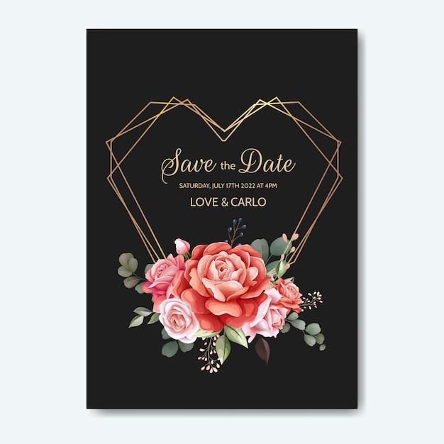 Cartão de convite de casamento conjunto modelo com linda flor rosa e folhas Vetor Premium