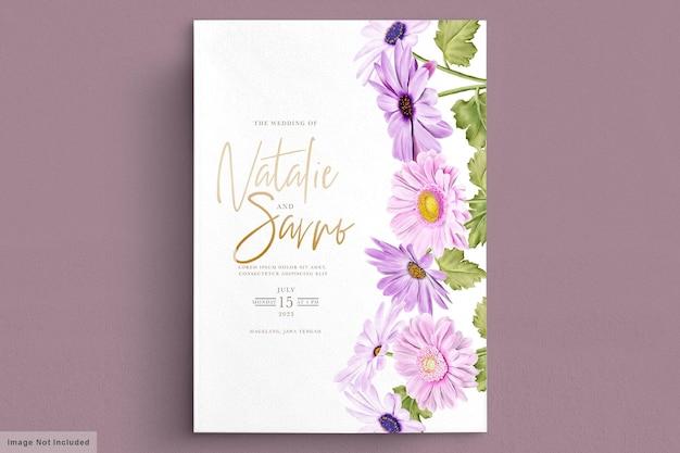 Cartão de convite de casamento de crisântemo aquarela Vetor grátis