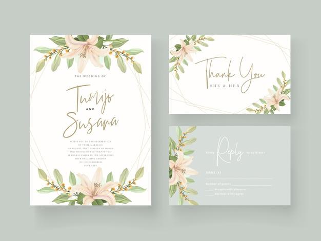 Cartão de convite de casamento de flor de lírio Vetor grátis