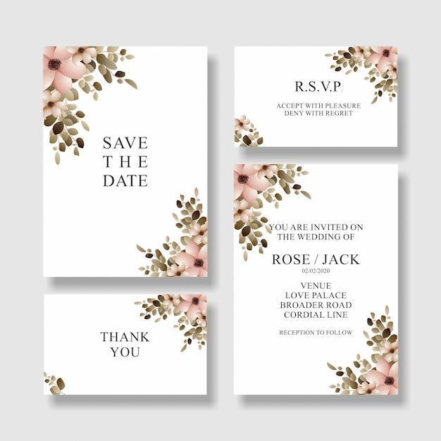 Cartão de convite de casamento de flor, salvar o cartão de data Vetor Premium