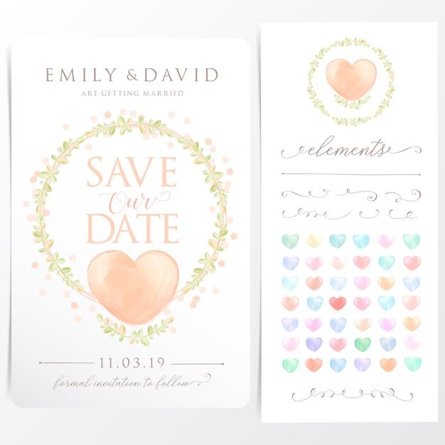 Cartão de convite de casamento de grinalda em aquarela Vetor Premium