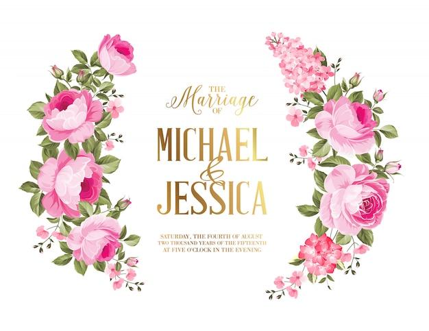 Cartão de convite de casamento de guirlanda rosa para cartão de casamento. Vetor Premium