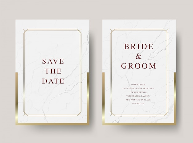 Cartão de convite de casamento de luxo vintage Vetor Premium