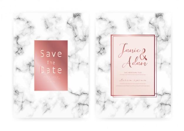 Cartão de convite de casamento de mármore, salvar o cartão de casamento data, design de cartão moderno com textura de mármore Vetor Premium