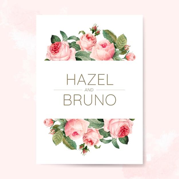 Cartão de convite de casamento decorado com rosas Vetor grátis